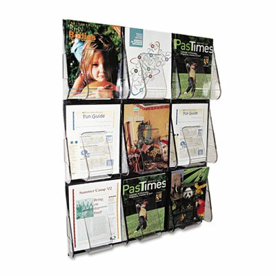 "Deflect-O Corporation Multi-Pocket Wall-Mount Literature Systems, 27.38"" Wide"
