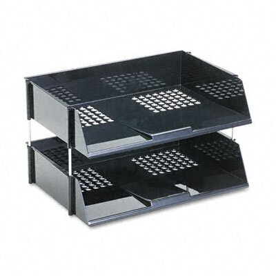 Deflect-O Corporation Industrial Stacking Tray Set, Two-Tier, Plastic, Black