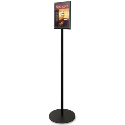 "Deflect-O Corporation Magnetic Sign Stand, Dual Sided, 12-15/16""x12-15/16"",56"", BK"