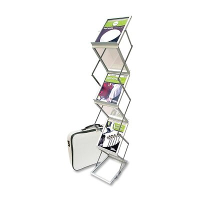 "Deflect-O Corporation Collapsible Floor Stand, 6 Pockets, 10-7/8""x14-1/2""x59"", Silver"