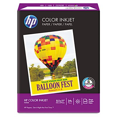 HP Color Inkjet Paper, 96 Brightness, 24lb, Letter, 500 Sheets