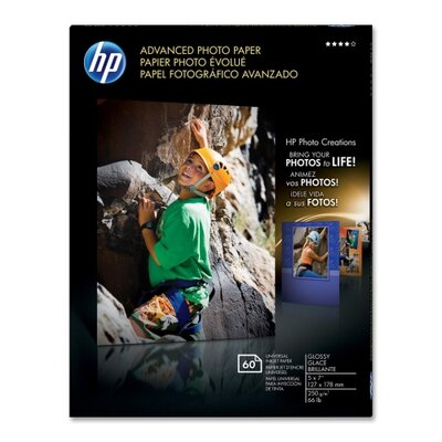 "HP Advanced Glossy Photo Paper, Glossy, 5""x7"", 60SH/PK, WE"
