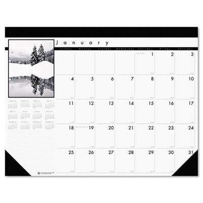 House of Doolittle Black-and-White Photo Monthly Desk Pad Calendar, 22 x 17, 2013