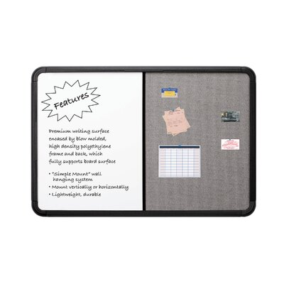 "Iceberg Enterprises 66"" Combo Dry Erase/Fabric Board with Blow Mold Frame"
