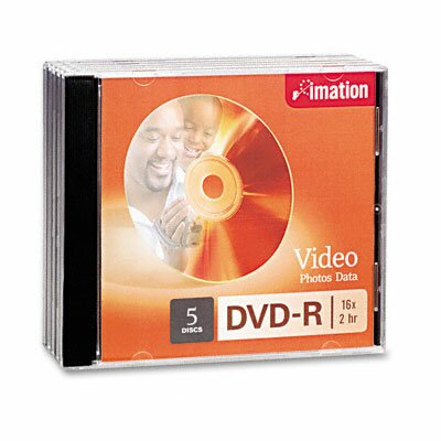 Imation DVD-R Discs, 4.7GB, 16x, with Jewel Cases, Silver, Five/Pack