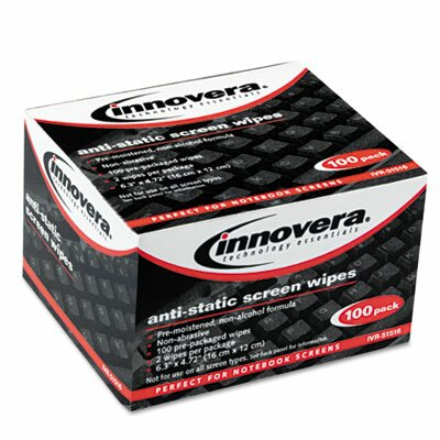 Innovera® Screen Cleaning Wipes, Alcohol-free, Cloth, 6 1/4 x 4 3/4, White, 100/Pack