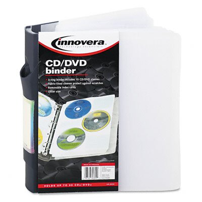 Innovera® CD/DVD Three-Ring Refillable Binder Holds 90 CDs, Clear/Midnight Blue