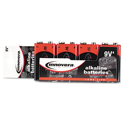 Innovera® Alkaline Battery, 9V, 4/Pack