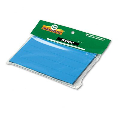 Magna Visual, Inc. Magnetic Write-On/Wipe-Off Pre-Cut Strips, 6 x 7/8, Blue, 25 per Pack