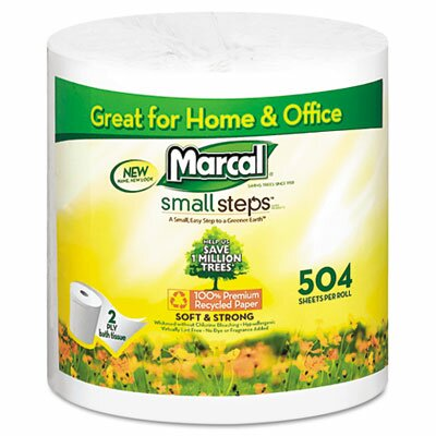 Marcal Paper Mills, Inc. Small Steps 1005 Premium Recycled Two-Ply Bath Tissue, 504 Sheets/Roll, 80 Rolls/Carton