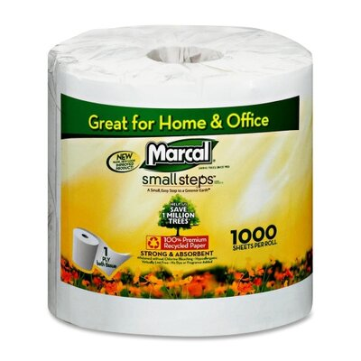 Marcal Paper Mills, Inc. Bathroom Tissue, 1000 Sheets per Roll, 40 per Carton, White