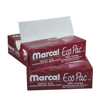 "Marcal Paper Mills, Inc. 6"" Eco-Pac Natural Interfolded Dry Waxed Paper Sheets in White"