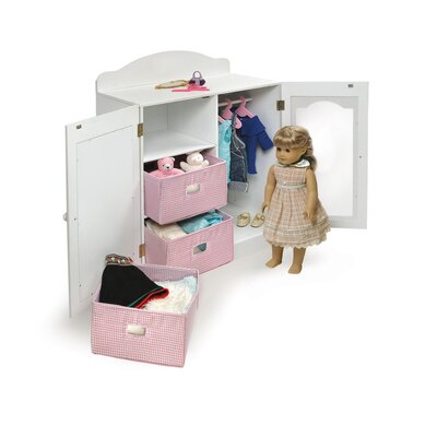 Badger Basket Mirrored Doll Armoire with 3 Baskets and 3 Hangers