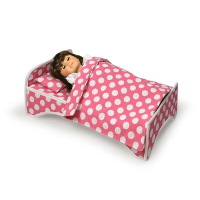 Badger Basket Doll Travel Case with Bed and Bedding in Dark Pink