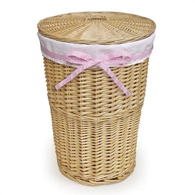 Badger Basket Natural Round Rattan Hamper with White Waffle Liner