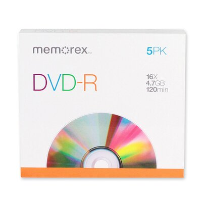 Memorex DVD-R, 16X, 4.7GB, Branded w/ Slim Jewel Case, 5 per Pack