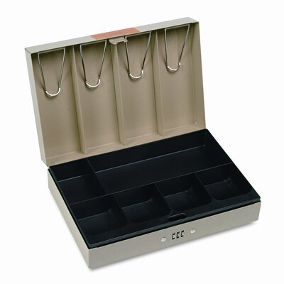 MMF Industries Steelmaster Heavy-Duty Steel Lay-Flat Cash Box with 6 Compartments