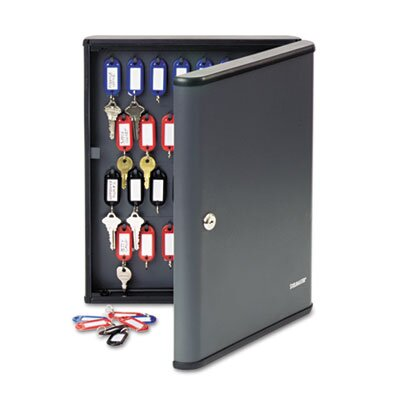 MMF Industries Locking 60-Key Cabinet, 11 3/4w x 2 3/8d x 14 3/4h, Charcoal Gray