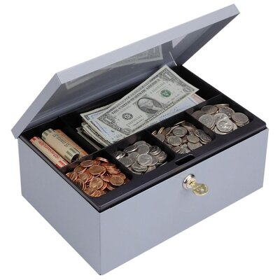Cash Box, W/Lock, Deluxe,11-1/4
