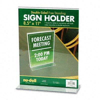 Nudell Plastics T-Frame Base Desktop Sign Holder, Acrylic, 8-1/2 x 11