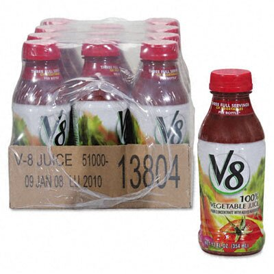 Office Snax Vegetable Juice, 12oz Bottle, 12/Carton