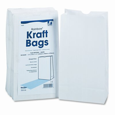 Pacon Corporation Rainbow Bags, 6# Uncoated Kraft Paper, 6 x 3-5/8 x 11, White, 100 per Pack