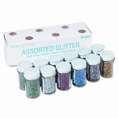 Pacon Corporation Spectra Glitter 6-Color Assortment, 3/4 oz. Shaker-Top Jars, 12 per Pack