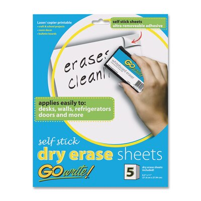 "Pacon Corporation Dry-Erase Sheets, Adhesive, 8-1/2""x11"", 5 Sheets per Pack, White"