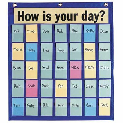 "Pacon Corporation Behavioral Pocket Chart,35 Pockets,18-1/2""x21"",Blue"