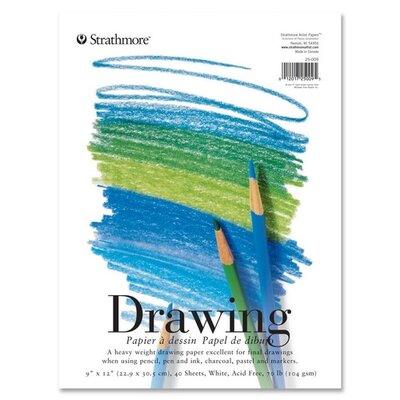 "Pacon Corporation Strathmore Drawing Pads, 70 lb., 9""x12"", 40 Sheets"