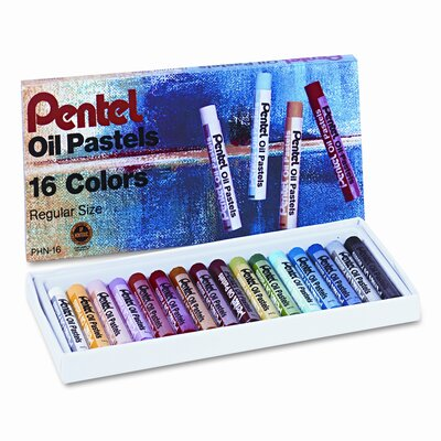 Pentel of America, Ltd. Oil Pastel Set with Carrying Case, 16/Set
