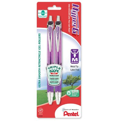 Pentel of America, Ltd. Gel Roller Pen,Retractable,Refillable,.7mm Pt, 2/PK, PE