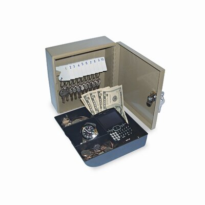 "PM Company Personal 2-in-1 Key Cabinet/Drawer Safe, Steel, 6-3/4"" Wide, Beige"