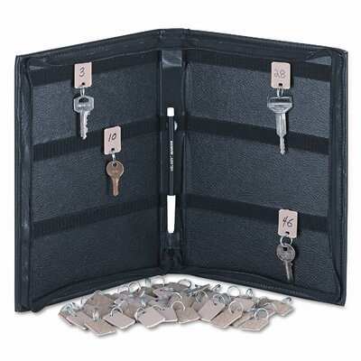PM Company Locking Full-Length Zipper 288-Key Leather-Look Vinyl Case, 9w x 11-5/8, Black