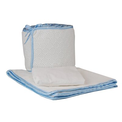 Tadpoles Tadpoles White Eyelet Cradle Set in Blue Trim