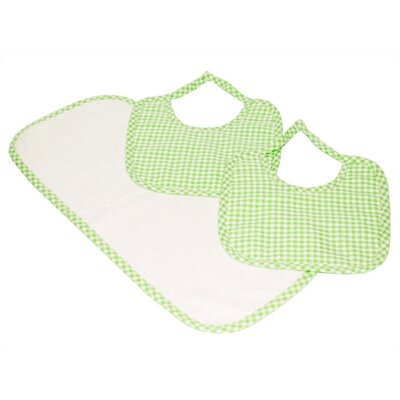 Tadpoles Classics Three Piece Bib & Burp Cloth Gift Set in Green