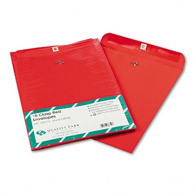 Quality Park Products Fashion Color Clasp Envelope, 9 x 12, 28lb, Red, 10/pack