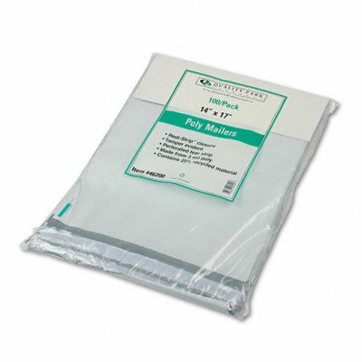 Quality Park Products Redi-Strip Recycled Poly Mailer, Side Seam, 14 x 17, White, 100/pack