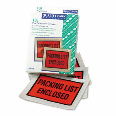 Quality Park Products Full-Print Self-Adhesive Packing List Envelope, 100/Box