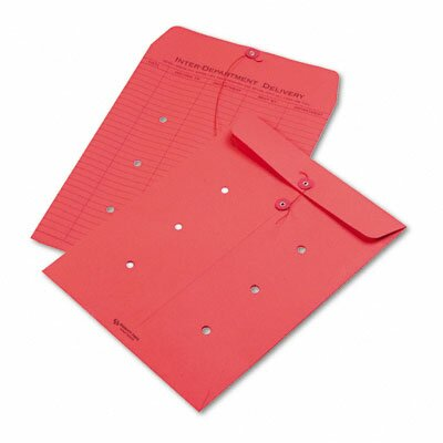 Quality Park Products Colored Paper String & Button Interoffice Envelope, 10 x 13, Red, 100/carton