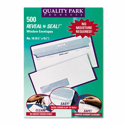 Quality Park Products Reveal-N-Seal Window Envelope, Contemporary, #10, White, 500/box