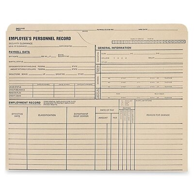 Quality Park Products Personnel Record Jacket, 1-1/2&quot; Exp, 9-1/2&quot;x11-3/4&quot;, 25/BX