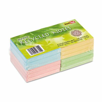 Redi-Tag Corporation 100% Recycled Notes, 3 x 3, Four Colors, 12 100-Sheet Pads/pack