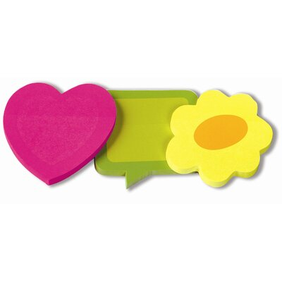 Redi-Tag Corporation Removable 2-Tone Paper Notes in Heart, Flower (3 Pack)