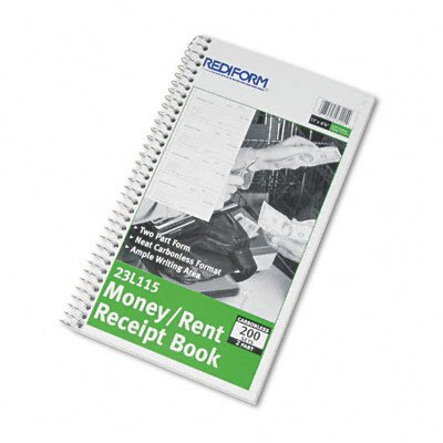 Rediform Office Products Money and Rent Unnumbered Receipt Book, 200 Sets/Book