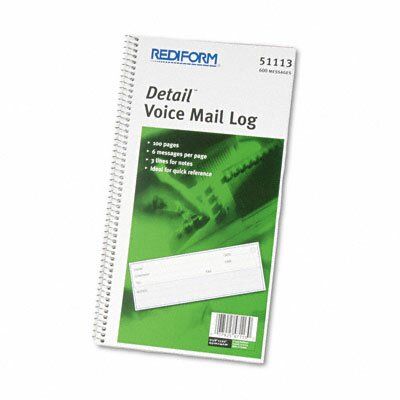 Rediform Office Products Voice Mail Wirebound Log Book, 600 Sets/Book