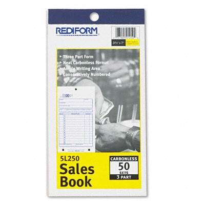 Rediform Office Products Sales Book, 3-5/8 X 6 3/8, Carbonless Triplicate, 50 Sets/Book