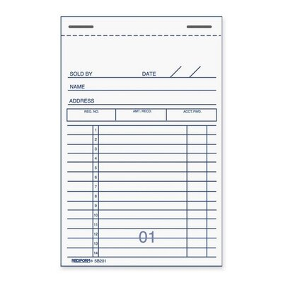 "Rediform Office Products Forms Book, Numbered Bottom, 50 Duplicates, 3-3/8""x5"""