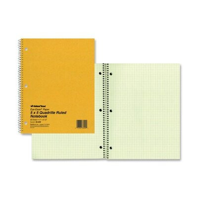 Rediform Office Products Wirebound Notebook, 5&quot;x5&quot; Quad, 11&quot;x8-1/2&quot;, 80 Pages, Green