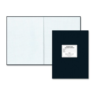 "Rediform Office Products Lab Notebook, 5x5 Squad, 60 Sheets , 11""x8-1/2"", Black Cover/White Paper"